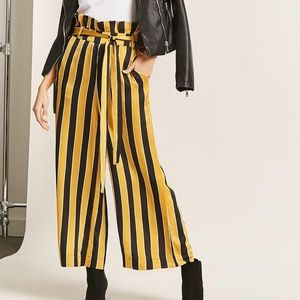 Stripe Belted Paperbag Pants
